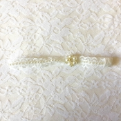 Ivory Lace Headband w/Pearls