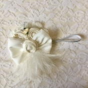 Silver Headband w/Off White Flowers/Pearls/Lace