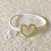 White Elastic Headband w/Rhinestone Heart Applique