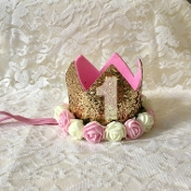 Gold Glitter 1st Birthday Crown w/Flowers