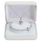 NECKLACE AND BRACELET SET WITH ANGEL CHARM (16in CHAIN)