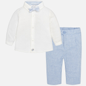 Mayoral Dressy Shirt/Blue Bow Tie/Blue Pant Set