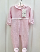 EMC Pink Velour Footie w/White Bow Waistband/Pearl Buttons