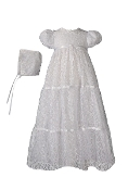 Girls 29″ Layered All Over Lace Christening Gown