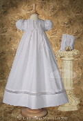 Girls 30″ Poly Cotton Christening Gown with Organza