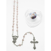 4mm Baby Pink Rosary in Baptism Heart Box