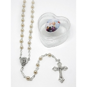 4mm Baby Pearl Rosary in Baptism Heart Box