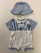 EMC Blue Striped Bubble with Buttons, Matching Hat Set