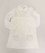 EMC Ivory LS Shirt/Knit Dress w/Fur Collar/Pockets