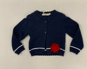 EMC Girls Navy Cardigan w/Red Flower