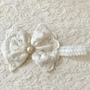 White Lace Headband w/Lace Bow