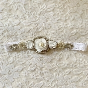 White Lace Headband w/Rhinestone Applique /Flowers