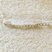 White Lace Headband w/Pearl Applique
