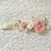 Ivory Lace Headband w/Gold Applique/Blush Flowers