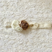 Ivory Lace Headband w/Lace Applique/Roses