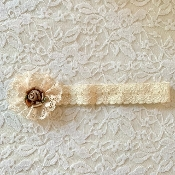 Ivory Lace Headband w/Lace Applique/Rosette