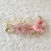 Ivory Crochet Headband w/Gold Lace/Blush Flowers