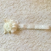 White Lace Headband w/Crochet Flower