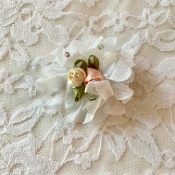 White Chiffon Flower w/Peach/Yellow Rosettes Hair Clip