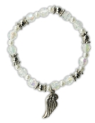 Crystal AB Stretch Bracelet w/Angel Wing