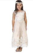 Girls Illusion Neckline, Tulle Dress with Lace Hemline