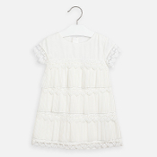 Mayoral Girls Pleated Guipur Dress