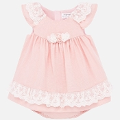 Mayoral Baby Girl Dress w/Lace Flutter Sleeves