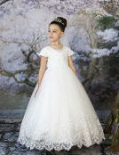 Princess Daliana Embroidered Satin Tulle Dress w/Cap Sleeves