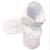 Girls Satin Bootie w/Lace w/Cross Embroidery